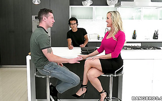 Lucky stud is skillfully seduced by friend's hot mature mom Brandi Love
