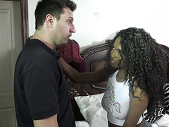 Saucy black stepdaughter Daya Knight is happy to fuck white stepdaddy
