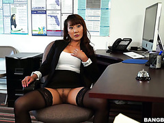 Hungry slit of Asian boss babe Tiffany Rain wants subordinate's big black cock immediately