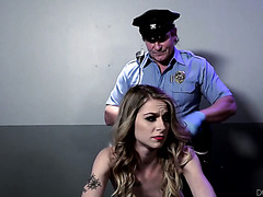 Warden's body cavity search turns Alan Summers on so she fucks other jailer