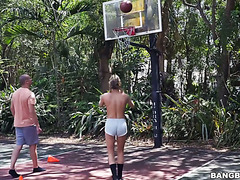 Frisky blonde chick Carter Cruise is sick at basketball and handling huge dicks