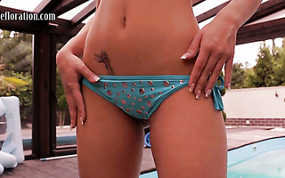 Tight-framed Euro virgin cutie Nicky Satte tickles her fancy by the pool