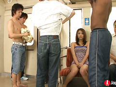Helpless Japanese beauty Iori Mizuki is toy fucked by perverts in subway