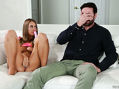 Lovely stepdaughter Jill Cassidy is caught playing with dildo by hunky stepdad
