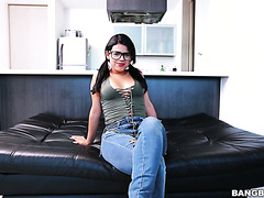 Nerdy Latina teen Carolina Rivera rocks on casting with her big Latina ass