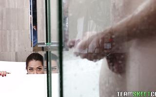 Young Latina minx Esperanza Del Horno hunts for stepbro's big dick in shower