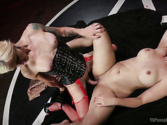 Chunky satanist Penny Barber gets dicked by summoned demon tranny Sami Price