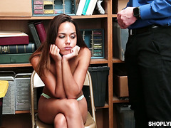 Cute Latina shoplifter Esperanza Del Horno pleases security guard to get free