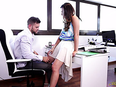 New Latina office girl Frida Sante befriends with handsome colleague