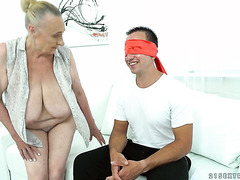 Ancient obese granny with big tits sagging to the floor Sila fucks young guy