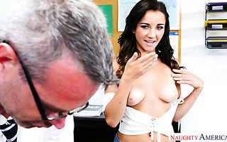 Young college hoe Jade Amber seduces French teacher using her boobs