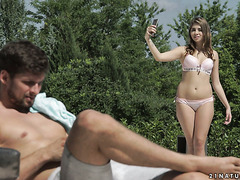 Comely Russian teen Julia Red tempts bf to fuck her lil ass outdoors