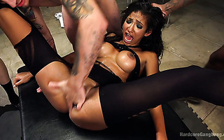 Sadie Santana is gangbanged to oblivion by three hunks