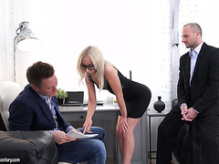 Boss and his business partner double fuck petite secretary Bambi Dee