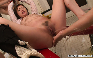 Asian slave Miu is hate fucked and drowned in gallon of piss
