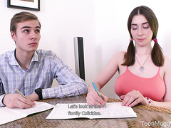 Busty Russian teen Clary fucks coed when tutors takes a break