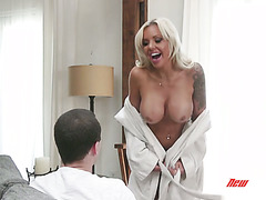 Nina Elle seduces stepson with her new fake boobs
