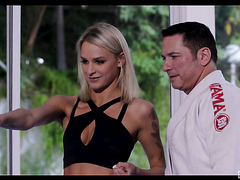 Sporty blondie Emma Hix seduces her karate sensei
