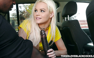 Enamoring blond Elsa Jean is stretched out by big black cock