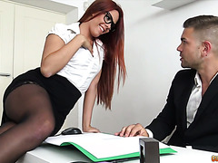 Redhead office babe Gala Brown works with her pussy to keep her job