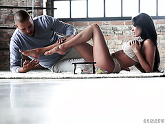 Breath taking French vixen Anissa Kate works with her tootsies
