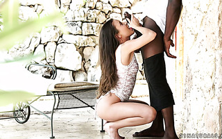 Bountiful Euro girl Anita Bellini embraces giant black dick with her butthole