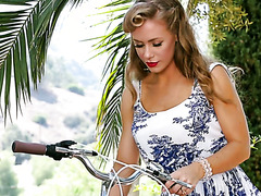 Pinup style solo scene with fake tittied damsel Nicole Aniston
