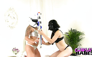 Foot fetish with mega curvy stormtrooper and sexy Darth Vader