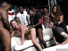 Whole club of black hunks fuck whore wife Brooke Wylde in front of cuckold