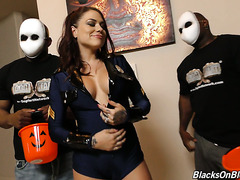 Trick or treating with whore wife Karmen Karma and two black studs