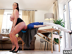 Huge stepmom Emma Butt punish fucks her wussy stepson