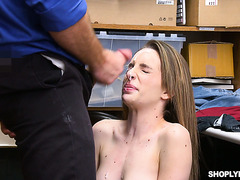 Cute Kimmy Granger acts retarded to get away with shoplifting