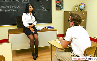 Thick teacher Raven Hart seduces nerd with her MILF pussy