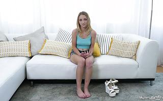 Emotional teen Macy Meadows orgasms on big dick in debut scene