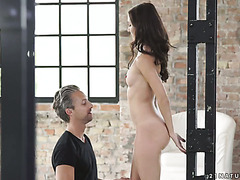 Tight babe Heather Harris takes care of a massive cock
