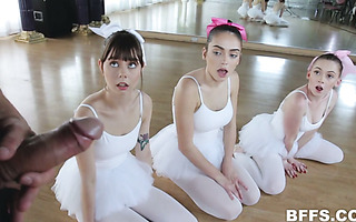 Little ballerinas Shae Celestine, Ashly Anderson and Athena Rayne fuck one guy