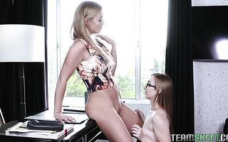 Nerdy teen Gracie May Green pleases lesbian mistress Rachael Cavalli