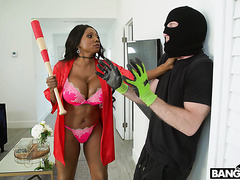 Black mistress Diamond Jackson punishes white robber