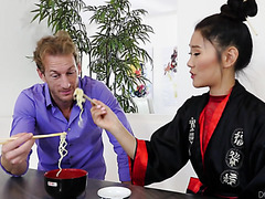 Asian babe Katana gets fucked by white boy in her shaved pussy