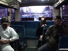 Shy student Yayoi Yoshino is oral banged and fed with cum in bus