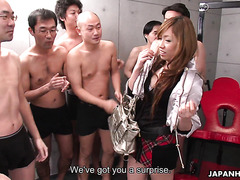 Bukkake and gangbang for hot Japanese college girl Yurina