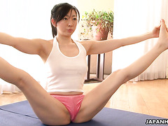 Mature Japanese stepmother Emiko Koike in tempting yoga workout
