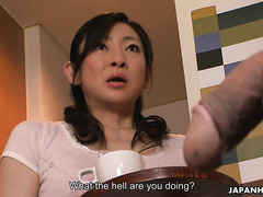 Obedient Asian stepmom Emiko Koike sucks and jerks off to stepson