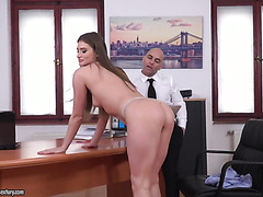 Ukrainian intern Sarah Sultry aces her anal job interview