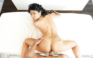 Curvy Monica Asis is fucked hard in her Latina coochie