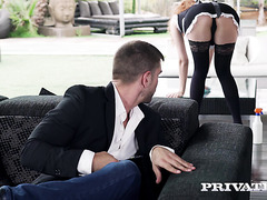 Redhead Russian maid Stacy Riviera seduces hunky boss