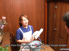 Asian cleaning lady Yukari Toudou is seduced by pervy client