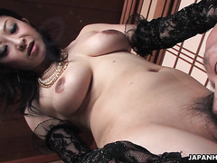 Mature Japanese mistress Sayoko Machimura is toyed by slaves