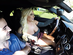 Busty Uber girl Brandi Bae gives client a full service