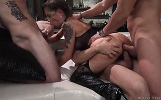 DAP, DPP, and brutal DP for Euro slut Malena in gangbang